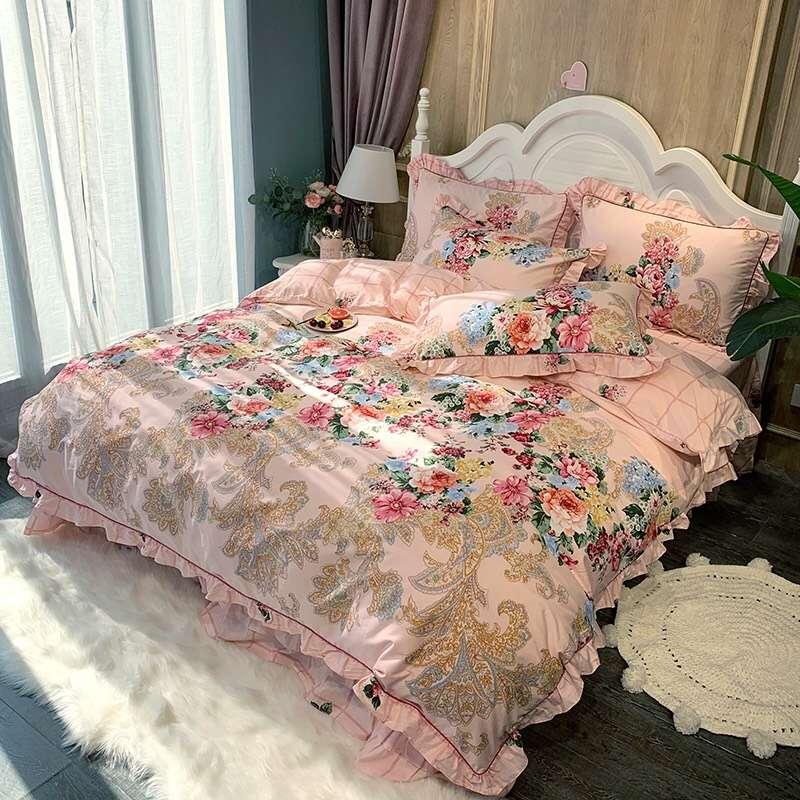 四件套纯棉全棉床单被套带花边被罩甜美公主风荷叶边1.8m床上用品