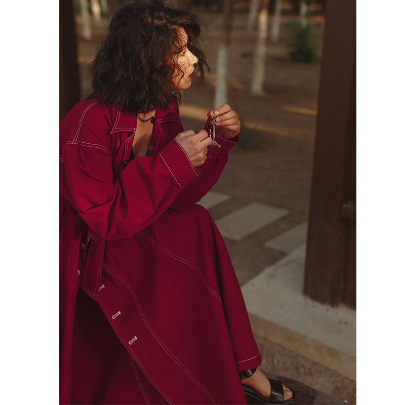vintage复古帅气超长款魅力红牛仔衣女重工宽松度假拼接风衣