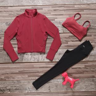 维多利亚秋冬季女瑜伽服专业户外运动跑步健身服长袖显瘦三件套装