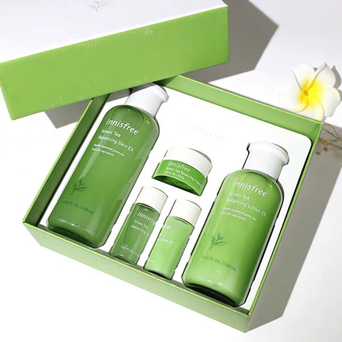 韩国innisfree悦诗风吟新款绿茶平衡水乳两件套四件套盒装补水保