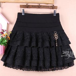 秋冬女装蕾丝短裙蛋糕裙半身裙蓬蓬大码黑色显瘦高腰打底半裙子