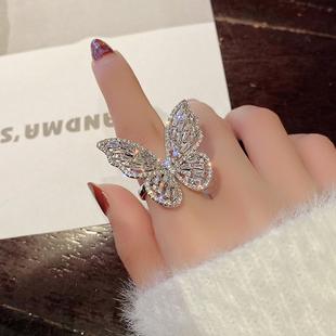 高级感奢华超仙锆石蝴蝶开口食指戒指ins潮韩版网红冷淡风指环女