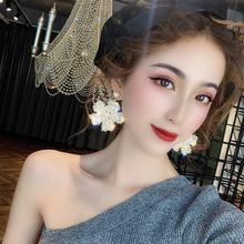 奢华高级感夸张水晶花朵耳环2019新款潮欧美韩国网红气质大耳钉女