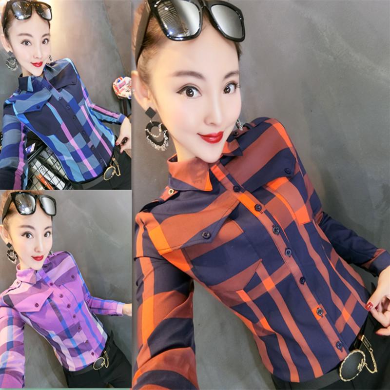 欧洲站女春2019新款打底衫洋气时尚气质修身显瘦洋气小衫格子衬衫