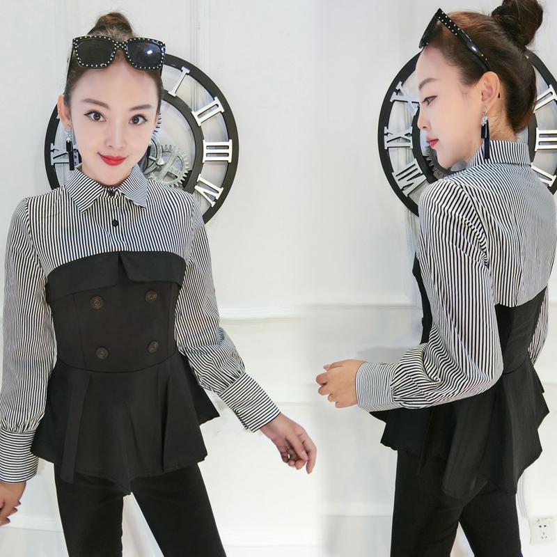 欧洲站通勤显瘦长袖衬衫2018秋季新款女装假两件条纹拼接裙摆上衣