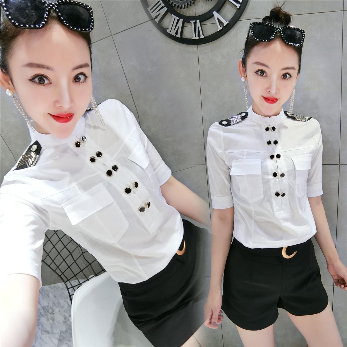 欧洲站职业衬衫女韩版七分袖正装2018秋装新款时尚白衬衣工作服潮