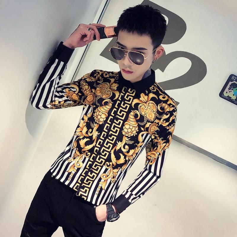 2020春季春款条纹社会小伙风韩版长袖纯色修身衬衫A236-9811-P55