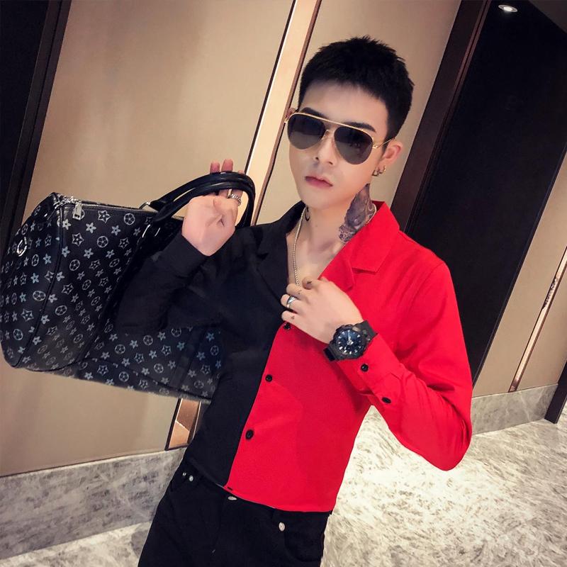 2020春季春款条纹社会小伙风韩版长袖纯色修身衬衫A236-9832-P55