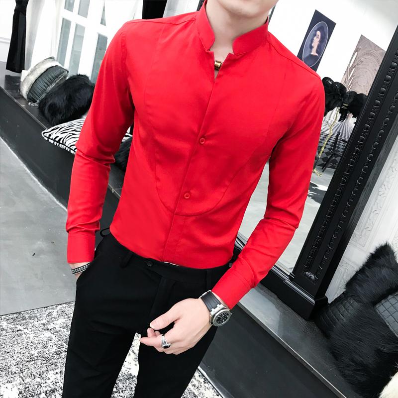 2020春季春款条纹社会小伙风韩版长袖纯色修身衬衫A236-1155-P50