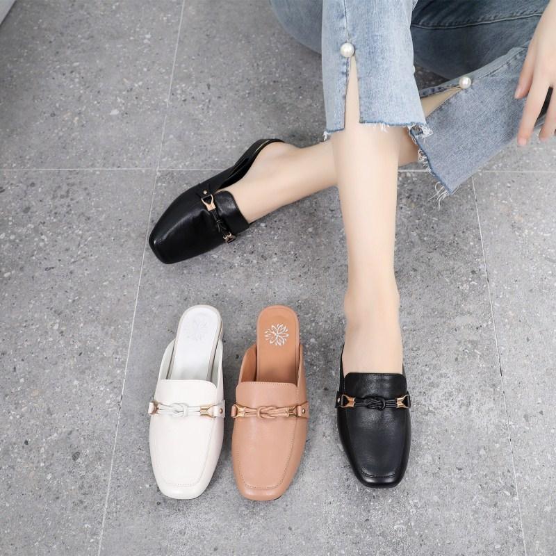 真皮外穿拖鞋2019新款半拖女鞋韩版百搭平底半托跟鞋夏季包头凉鞋