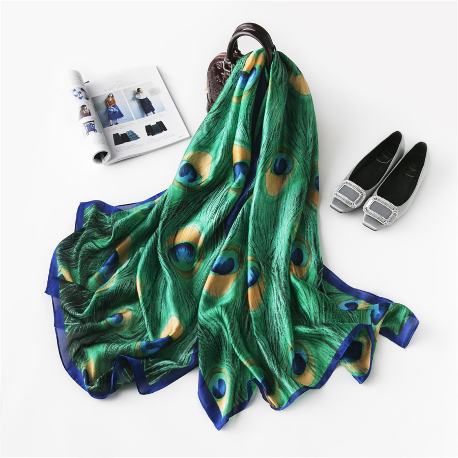 Spring and autumn Colorful Peacock Blue Long Silk Scarf women blue peacock feather pattern scarf large sun proof shawl beach towel