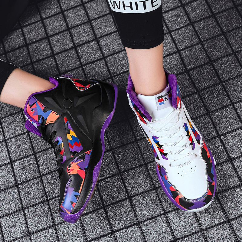 @Huaxi Chao mens Mandarin Duck versatile high rise Boots Mens shoes breathable students high top mens basketball shoes