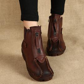 真皮妈妈短靴女秋冬平底复古民族风全皮手工单靴软底纯皮加绒棉鞋