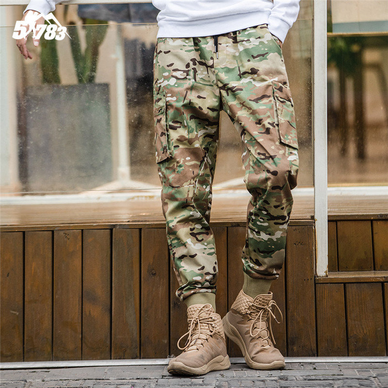 51783 autumn new fashion brand camouflage pants mens slim body corset Hong Kong Style versatile overalls leisure sports pants