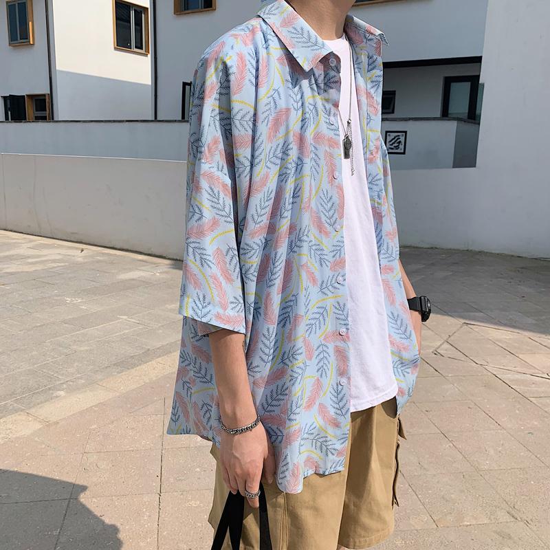 衬衫男短袖修身韩版潮流帅气青少年学生衬衣C610-P40【控价58】