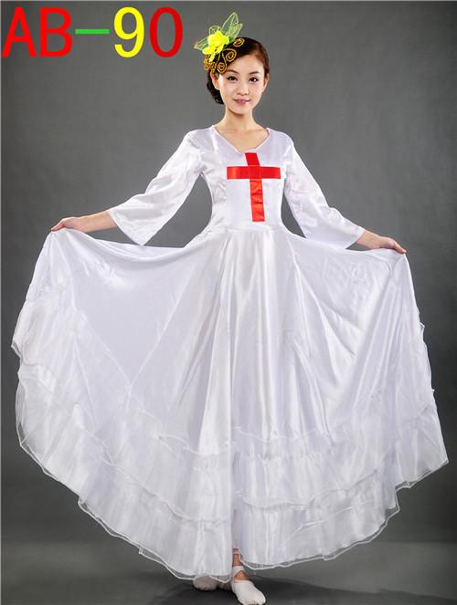 基督教舞蹈大摆裙 基督教舞蹈演出服装 基督教唱诗班耶稣主圣诗服