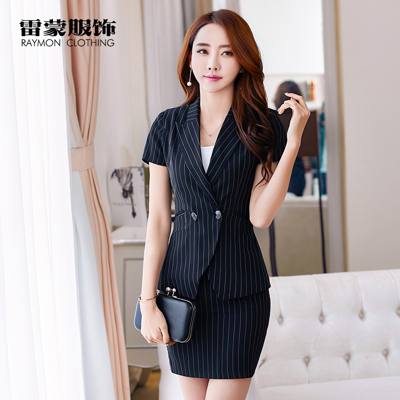 High end formal Short Sleeve Striped business suit women summer fashion ol suit interview suit customized work clothes