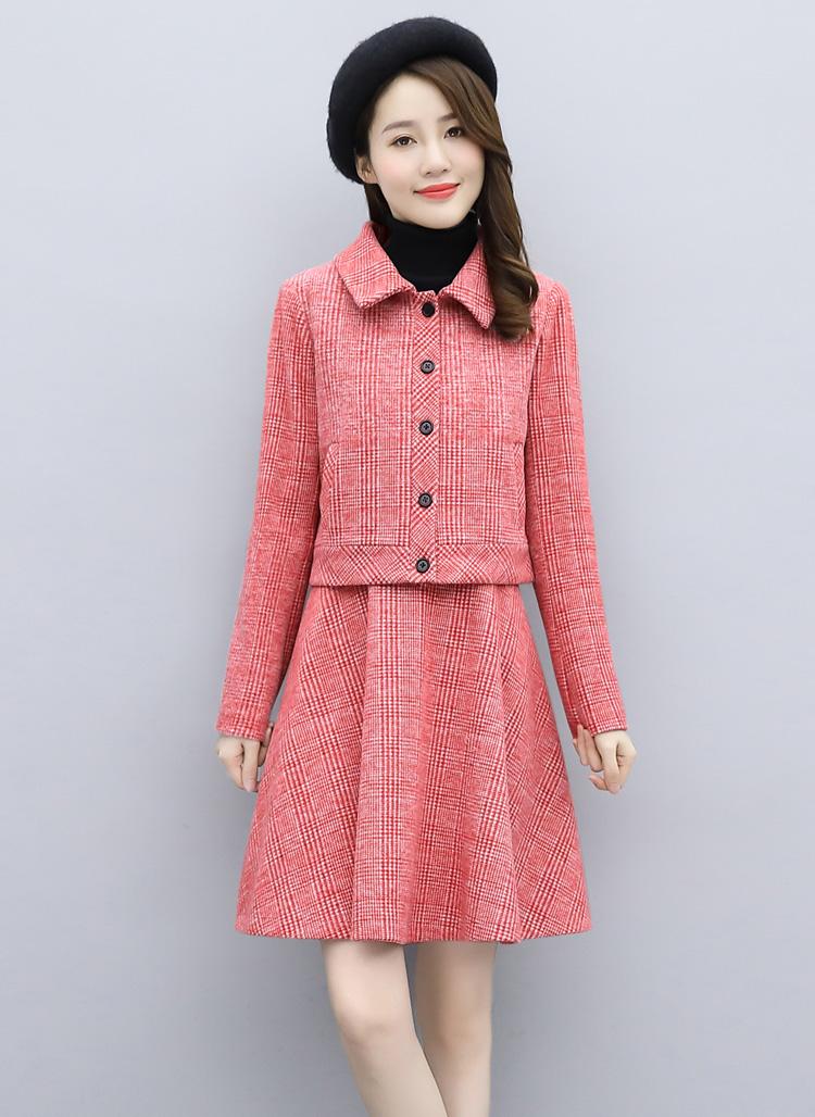 2020冬装新款时尚格纹毛呢小外套背心连衣裙两件套套装女