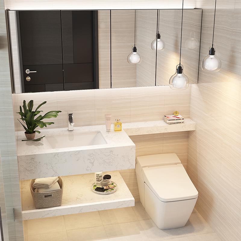 定制浴室柜大理石台面延长切角卫浴柜包柱子洗手盆柜任意尺寸定做图片