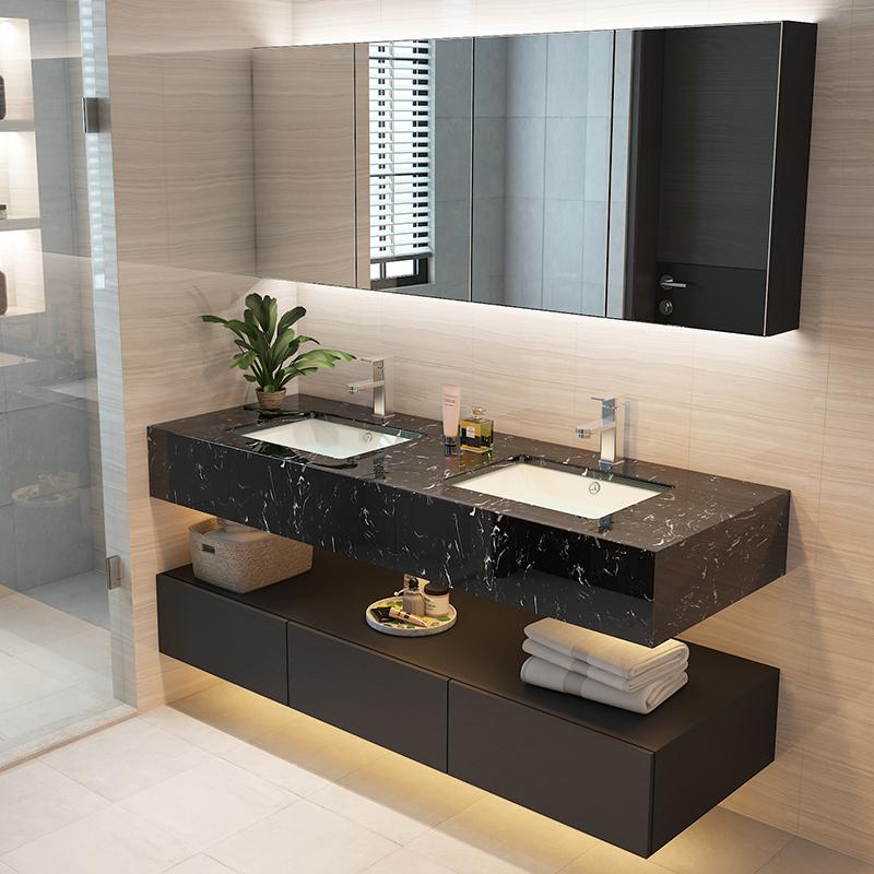 定制大理石台面浴室柜组合智能镜双盆洗脸盆柜卫生间洗漱台洗手台