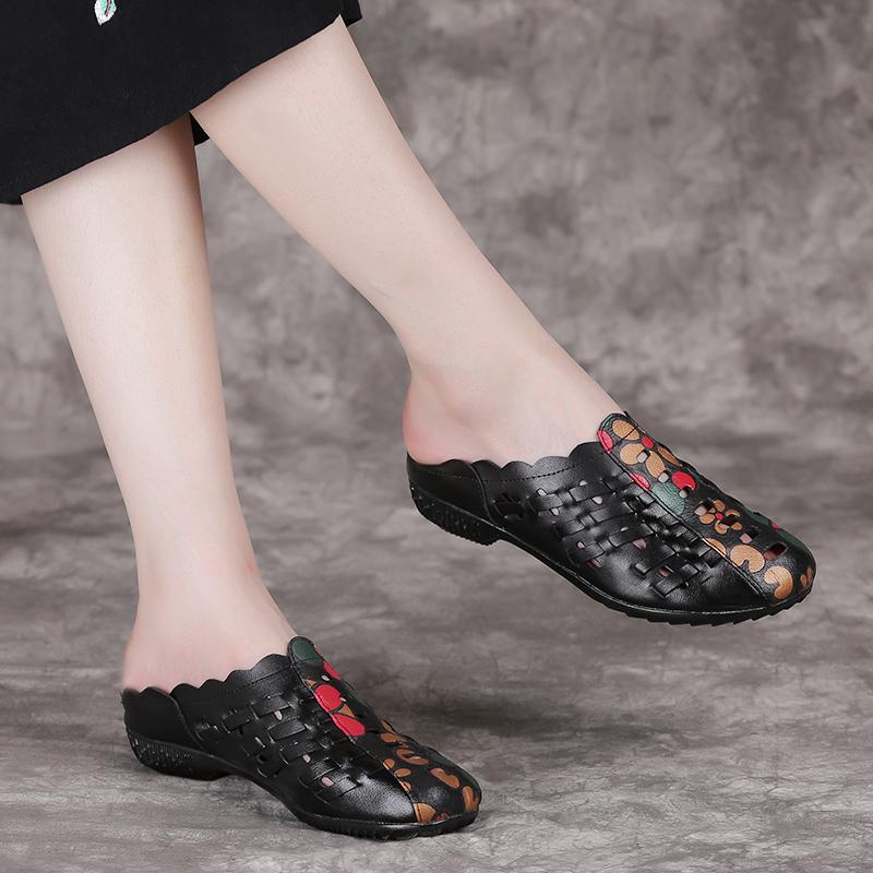 真皮夏季新款民族风平底妈妈女拖鞋
