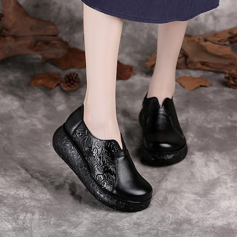 2019秋冬新款厚底女鞋真皮妈妈鞋民族风单鞋复古圆头坡跟女皮鞋