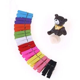 七色花幼教创意diy手工装饰 彩色照片麻绳木夹子 封口便条夹摆件