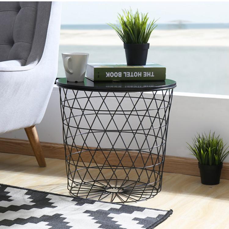北欧铁线沙发边几角几小茶几杂志收纳储物简约沙发边桌铁艺脏衣篓
