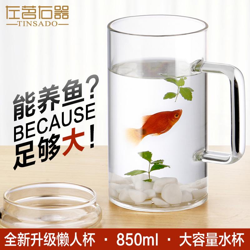 左茗右器 超大容量玻璃杯耐熱茶杯透明水杯子帶蓋加厚玻璃杯850ML