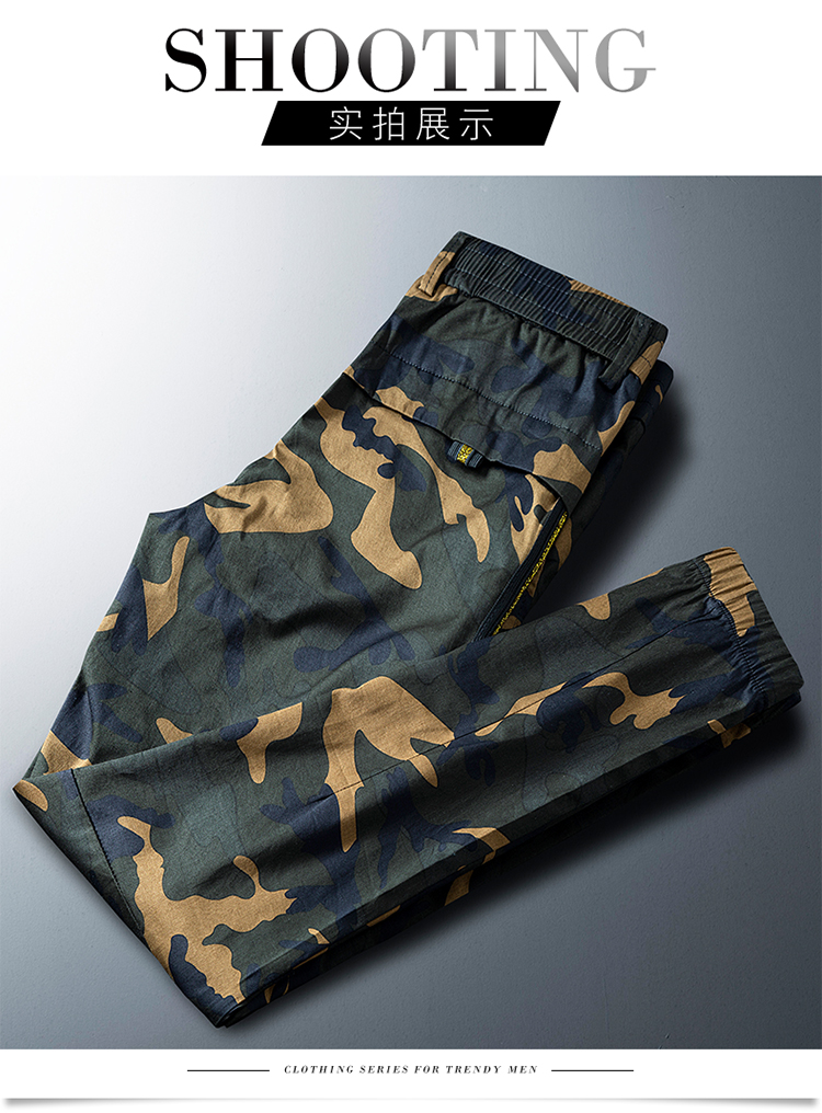 Popular online red mens camouflage pants autumn and winter mens pants 2019 new casual pants legged overalls fashion brand cool