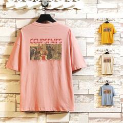 挂拍砖 电商A088-T20933-P20 100%棉 夏季新款宽松短袖T恤上衣 男