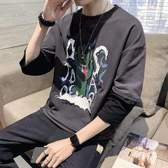逸秀木 电商A088-T20503-P40 100%棉 春装新款圆领大码长袖T恤 男