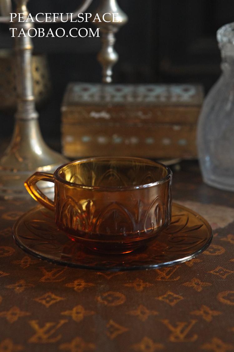 民国风 老上海 琥珀色 玻璃咖啡杯vintage美食摄影道具