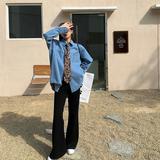 安酒月牛仔衬衫女春装2021年新款宽松设计感上衣复古内搭叠穿衬衣