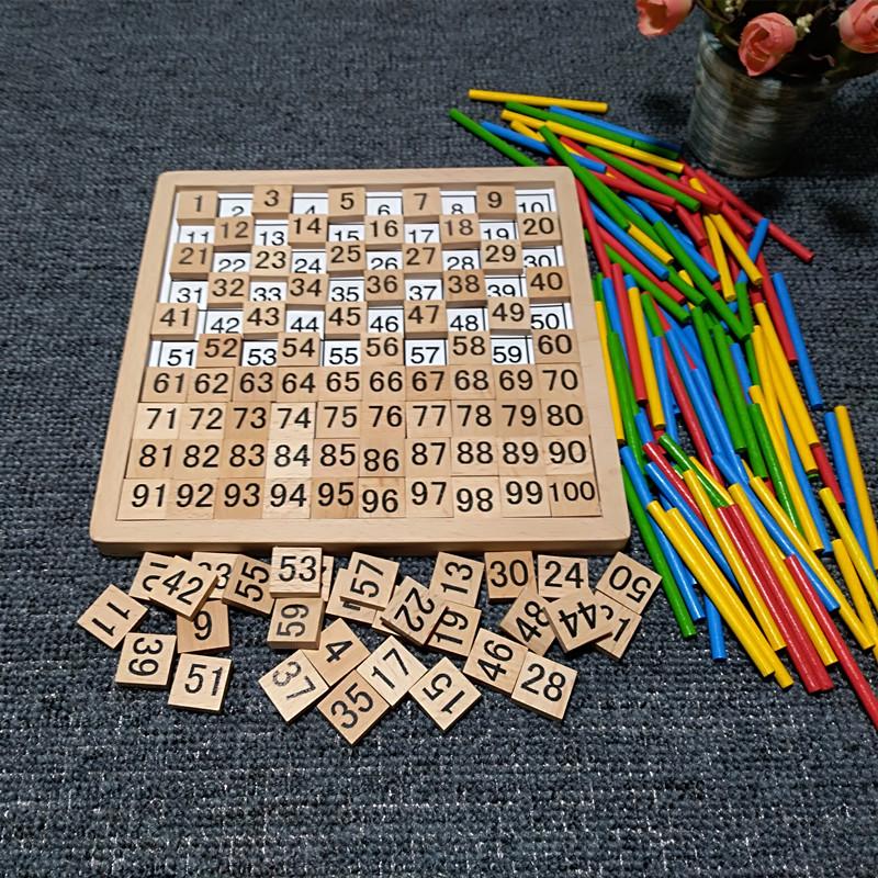 蒙氏1-100数字板百数板幼儿园儿童早教数学算数启蒙教具算术玩具