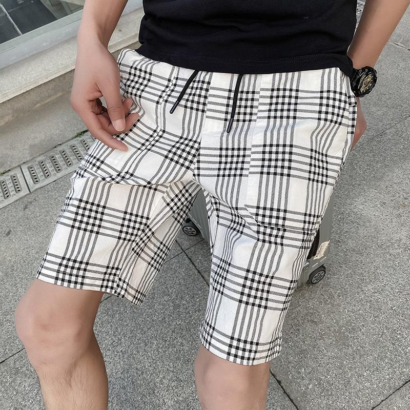 2021 summer mens Plaid Shorts slim cotton Capris plaid pants small foot fashion