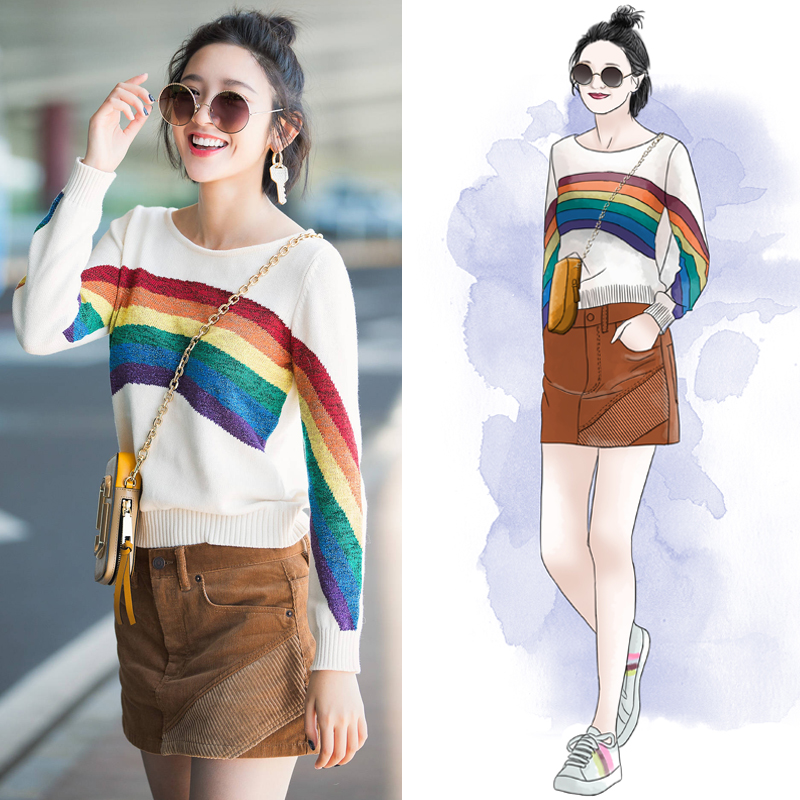 Tang Yixin star same style airport loose rainbow color stripe contrast Pullover Sweater long sleeve sweater female