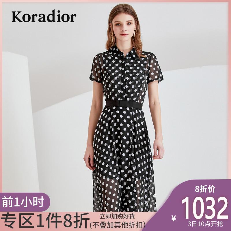 Koradior/珂莱蒂尔品牌女装2019夏装新款薄款修身波点雪纺连衣裙
