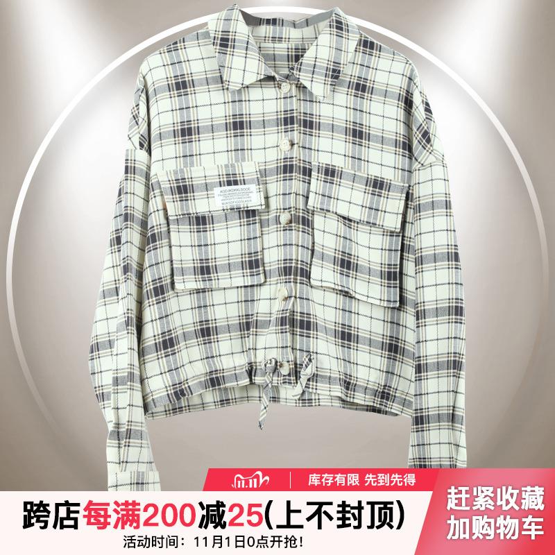 JOEANNIE秋装2020新款shop1972格子外套长袖口袋衬衫JE100317046图片