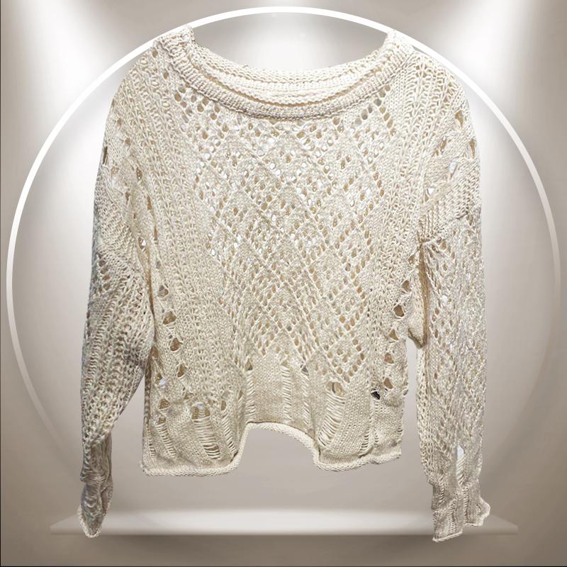 miroy/麦诺伊秋冬装2020新款shop1972镂空毛衫女长袖MR420414003图片