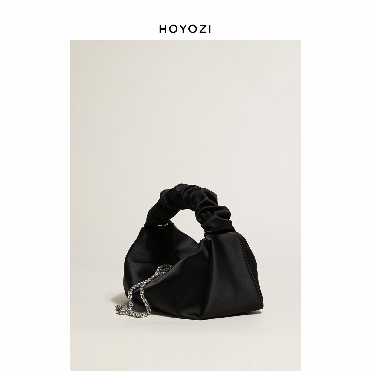 小优家包包 HOYOZI 缎面小黑包包2021新款包包手提包女夏淘宝优惠券