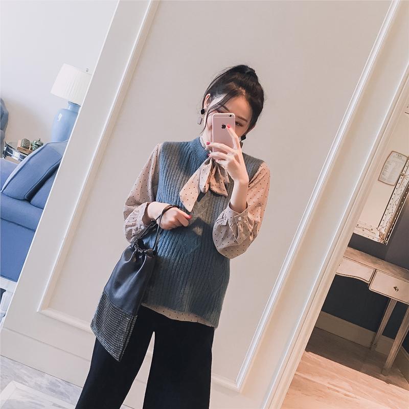 Беременная женщина наряд 2018 весна новый корейский аргайл причина твердый дикий беременная женщина свитер краткое модель жилет жилет