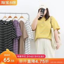 5色复古圆领条纹短袖T恤女2021夏季新款大码胖mm宽松显瘦撞色上衣