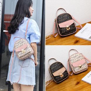 女包2019新款韓版印花小揹包森系女學生雙肩小包包單肩斜跨手提包