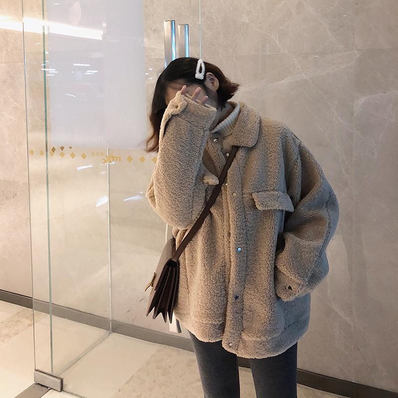 羊羔毛外套女短款2018冬装新款韩版宽松皮毛一体加厚学生chic棉服