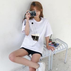 2153# 100%纯棉 2021新款夏季韩版百搭圆领宽松t恤女创意短袖上衣