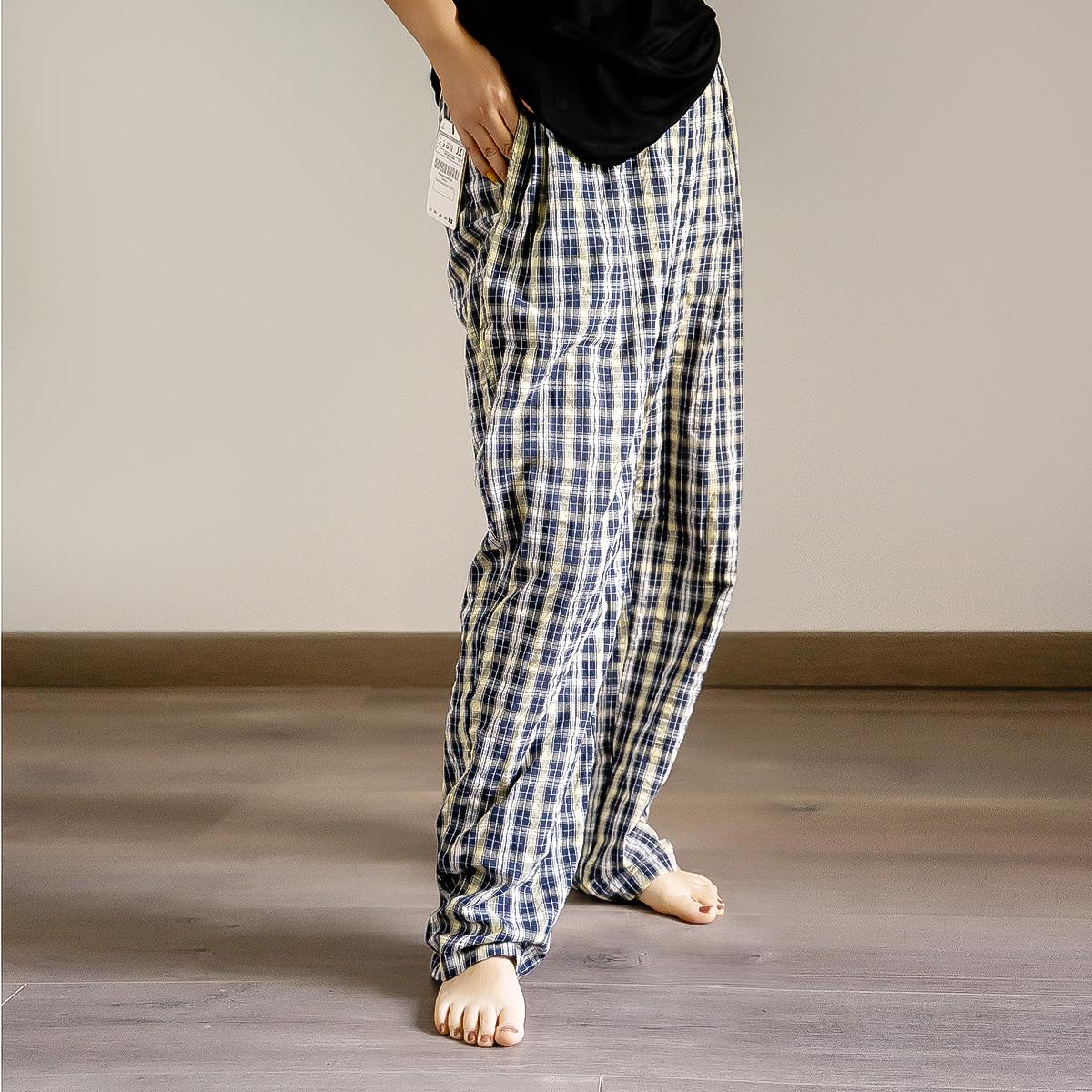 Rose whale Japanese loose straight high waist thin drape pants summer cotton plaid pants female