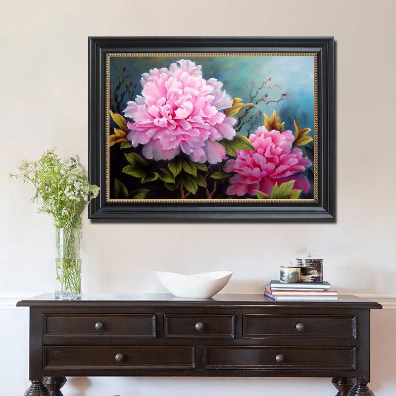 定制純手繪富貴牡丹油畫橫幅掛畫手工花卉客廳餐廳走廊玄關裝飾畫