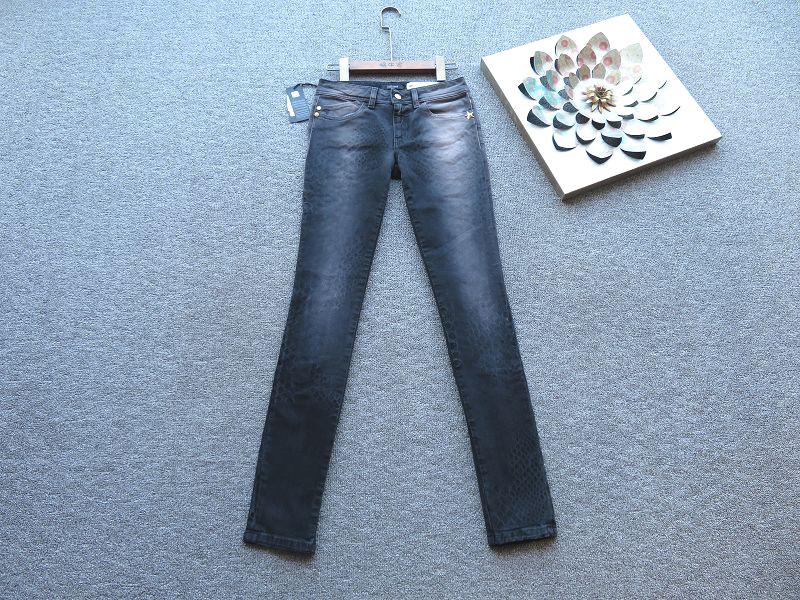 高端 意大利制JUSTCAVALLI深灰色磨白豹纹点时尚显瘦复古牛仔裤