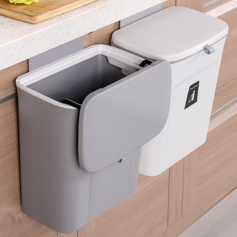 厨房垃圾桶壁挂式家用带盖悬挂纸篓创意垃圾分类收纳筒橱柜门挂式